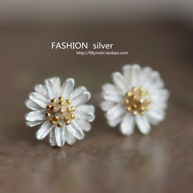item fine earring sterling stud silver new women earrings classic daisy chrysanthemum real for