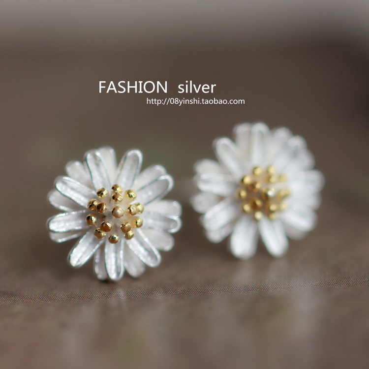 2017 Silver Needle Daisy Earrings for Women Korean Style Fashion Brinco Top Quality New Design Girl Jewelry Wholesale Gift