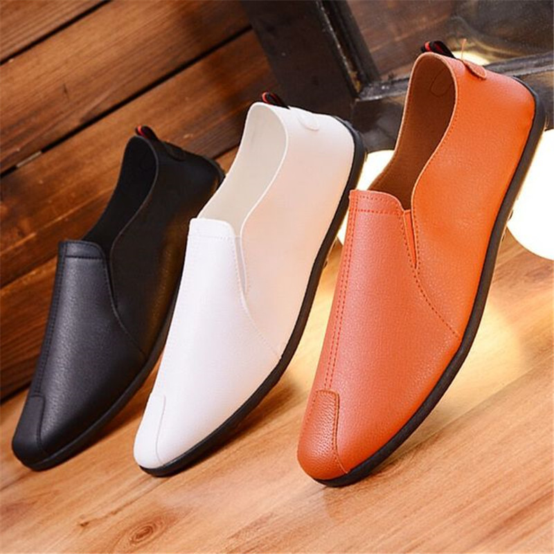 New Italian Leather Men Casual Shoes Luxury Brand Mens Loafers Moccasins Breathable Slip On Black Driving Shoes Soft Flats 2019