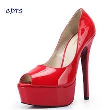 Plus:40-45 46 47 48 Summer Open Toe Gold bottom sandals 16cm thin heels platform sexy shoes Patent Leather women wedding pumps