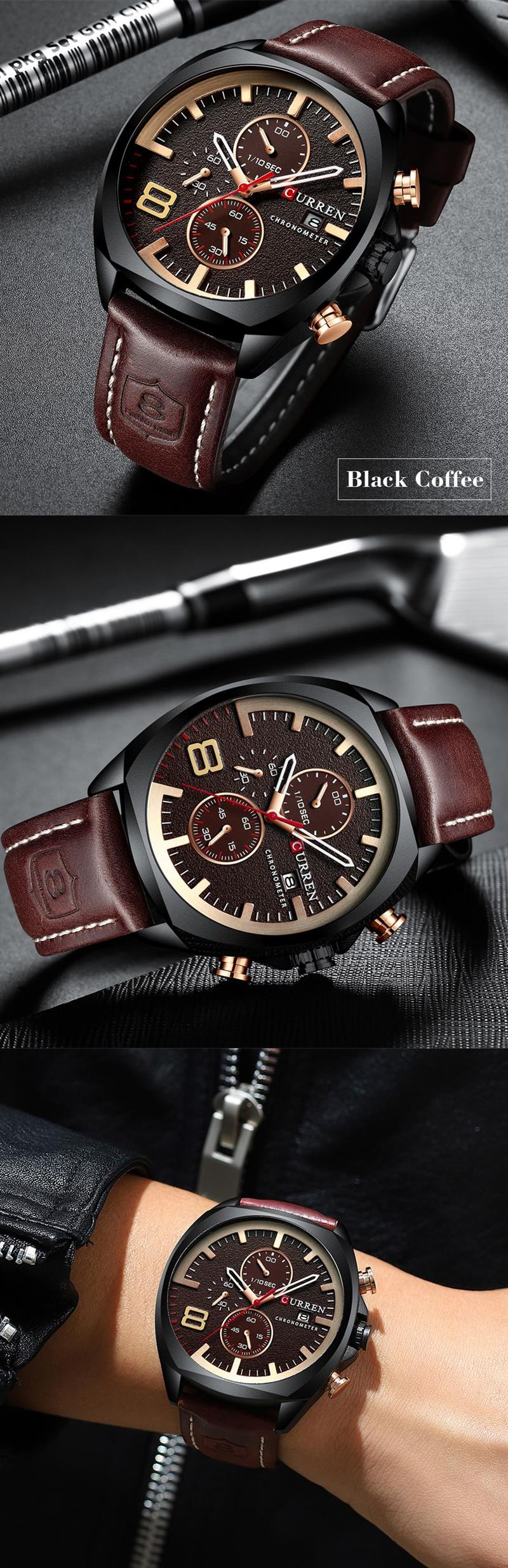 Luxury Leather Military Sports Watch