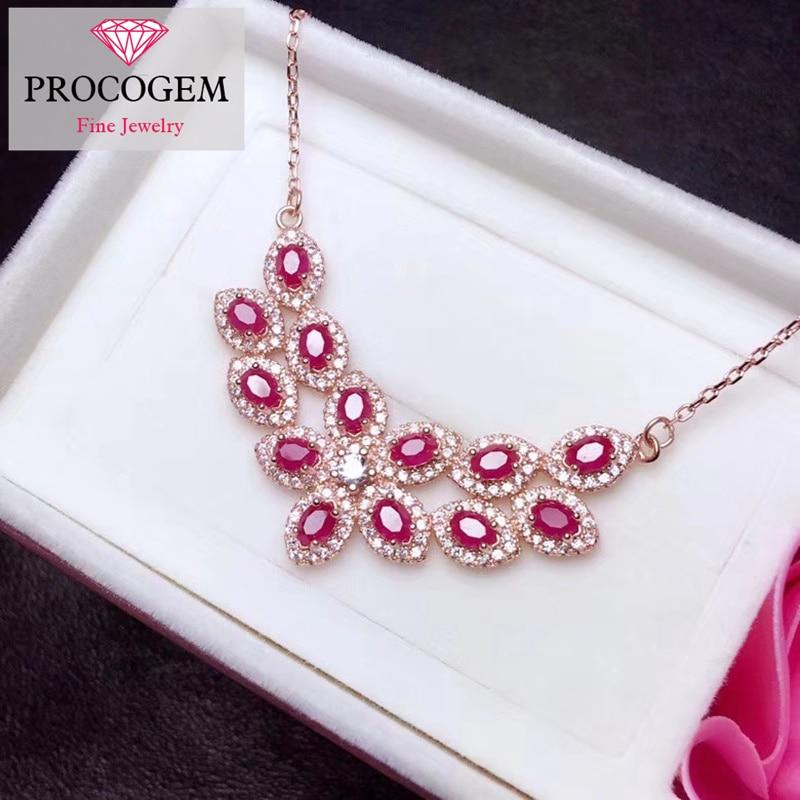 Naturel rubis pendentif colliers pour femmes fête mariage 100% réel pierre gemme argent 925 18 K blanc plaqué or bijoux fins #310
