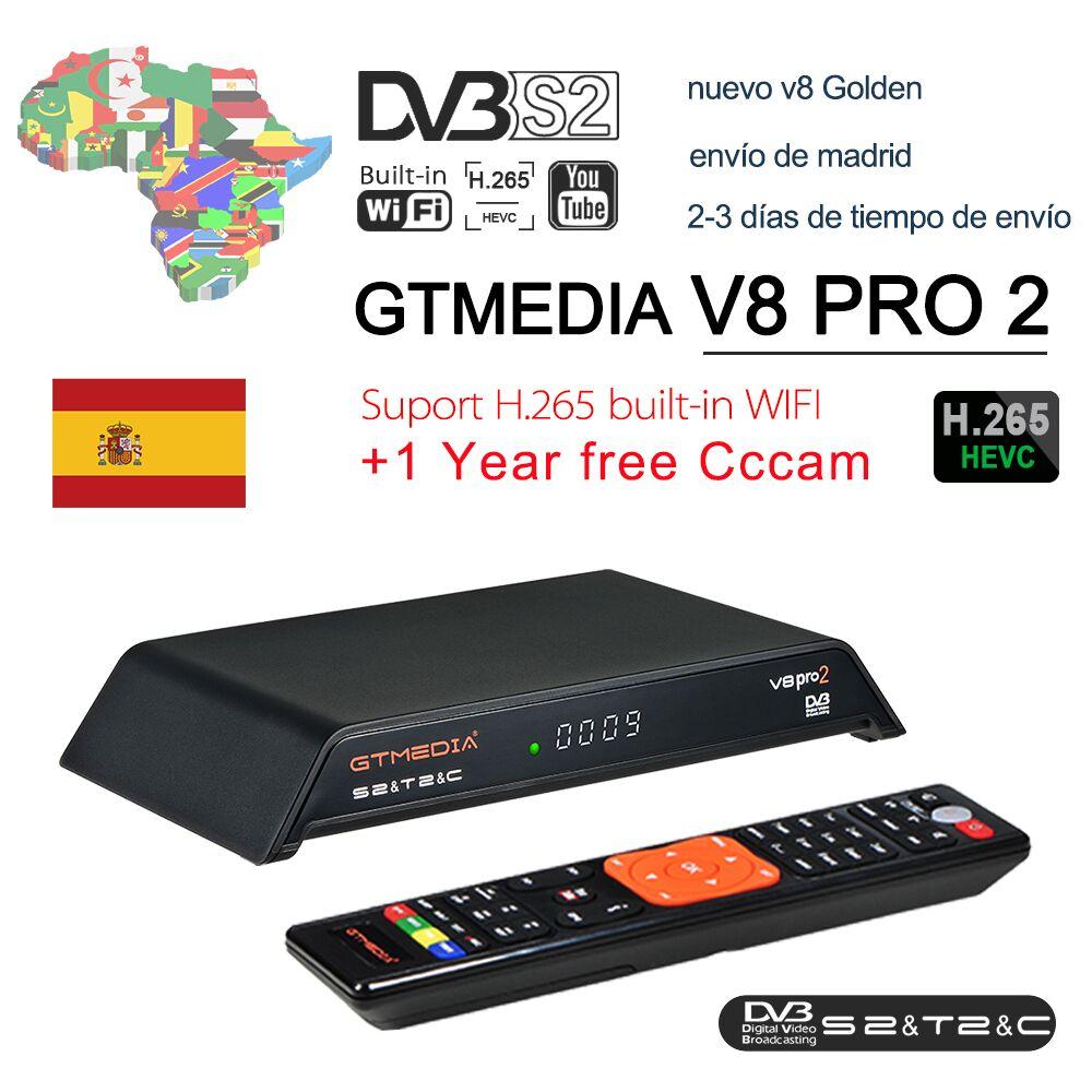 GTMedia V8 Gtmedia V8 pro2 H.265 Full HD DVB-S2 DVB-T2 DVB-C Câble Récepteur Satellite WiFi Intégré mieux que freesat v8 golde