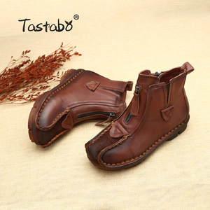 Image 5 - Tastabo Genuine Leather Ankle Boots Velvet Handmade Lady soft Flat shoes comfortable Casual Moccasins Womens shoes