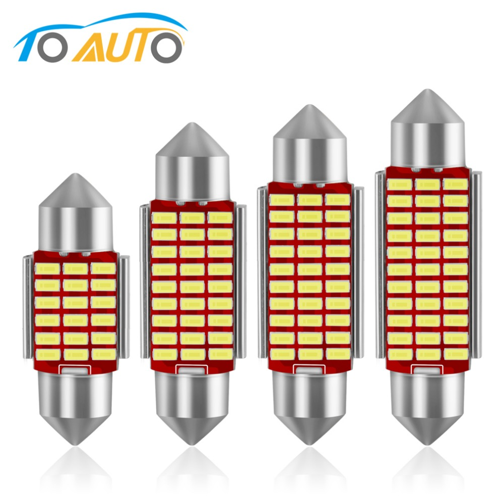 2pcs C5W <font><b>LED</b></font> Festoon 31mm 36mm 39mm <font><b>42mm</b></font> <font><b>LED</b></font> <font><b>Bulbs</b></font> Car Interior Lights 6000K White 4014 Chips Auto Reading Light Dome Lamp 12V image