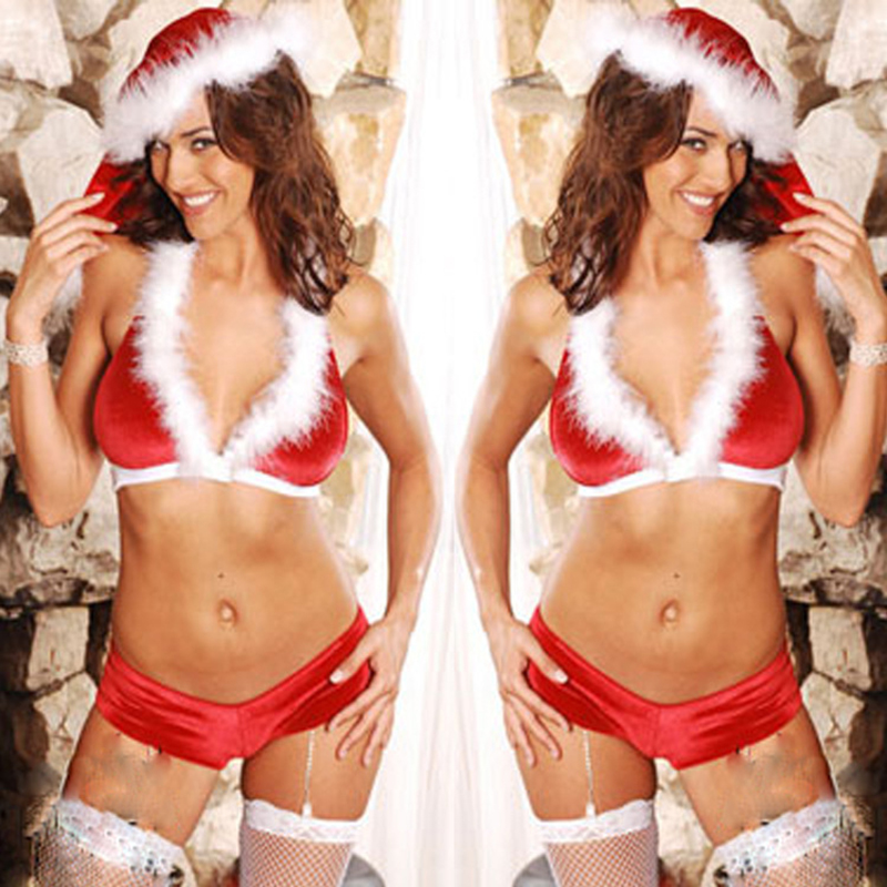 High quality sexy Christmas costume female cosplay costume bikini Christmas furry night club dance party performance clothing