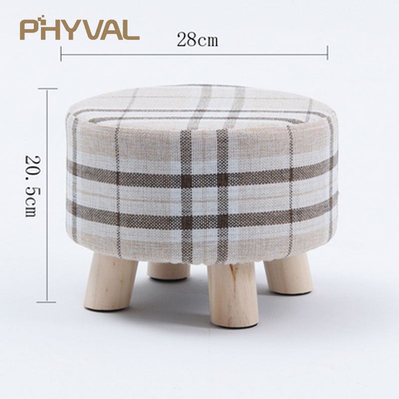 Admirable Modern Luxury Upholstered Footstool Nordic Round Pouffe Stool Wooden Leg Pattern Round Fabric 4 Legs Pdpeps Interior Chair Design Pdpepsorg
