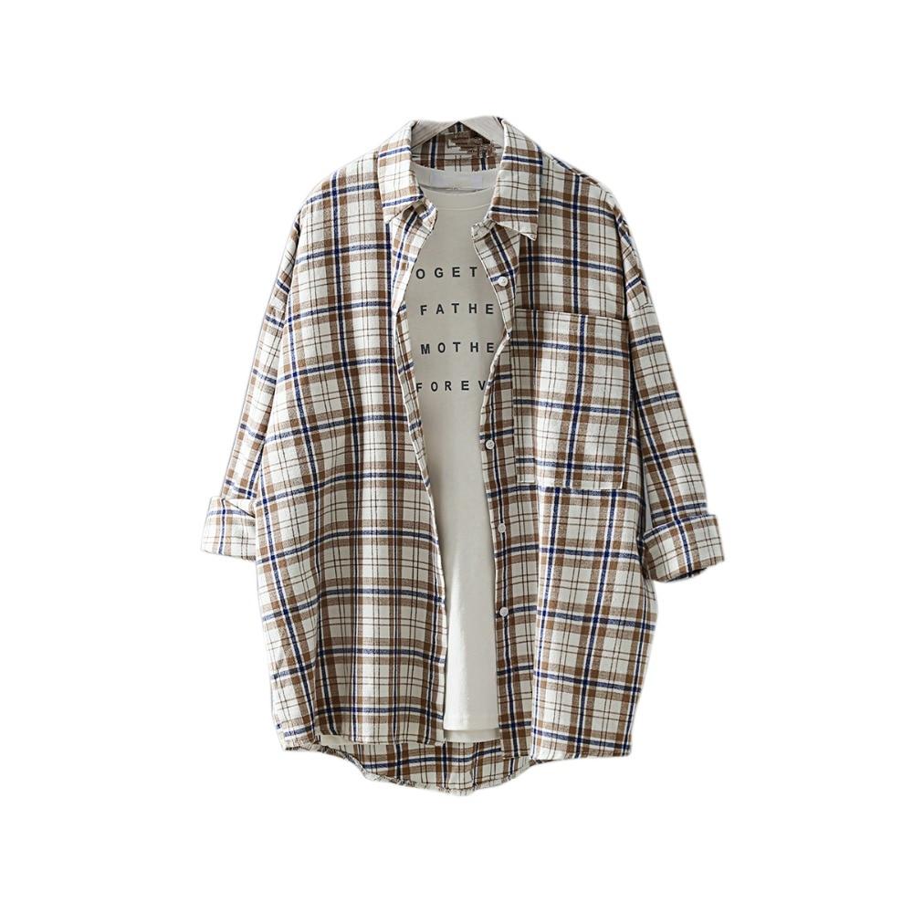 Korean Fashion Plus Size Women Plaid Shirt 2019 Spring Long Blouse Big Pocket Turn Down Collar Ladies Tops Long Sleeve Blouse in Blouses amp Shirts from Women 39 s Clothing