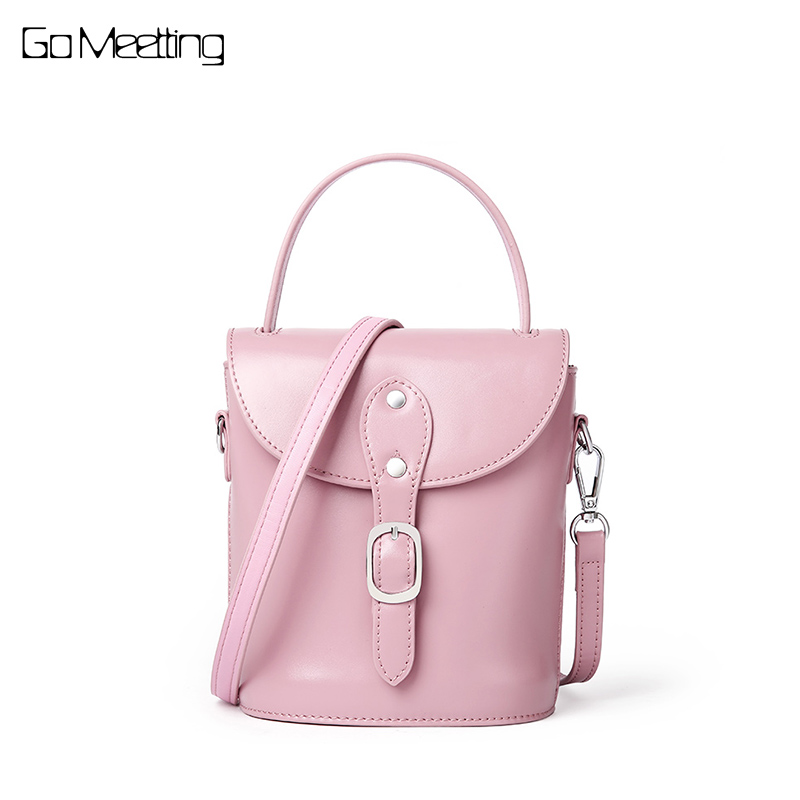Go Meetting Genuine Leather Women Small Crossbody Bags Pink Mini Messenger Bags Bucket Handbag Fashion Female Flap Shoulder Bags аккумулятор momax ipower go mini 8400mah ip36d pink