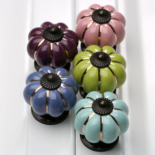 Vintage Door Knobs Ceramic Handle Home Furniture Pumpkin Cabinet Wardrobe Pull (2PCs)