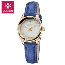 Julius señora mujer del reloj de cuarzo horas mejor vestido moda venda de la pulsera de la cáscara de cuero multicolor regalo de cumpleaños niña 723