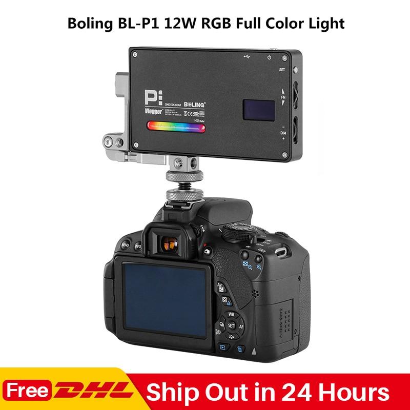 Boling BL-P1 RGB LED Video Light 2500K-8500K Dimmable On Camera Photography Lighting Video Studio DSLR Camera Light For Vlog