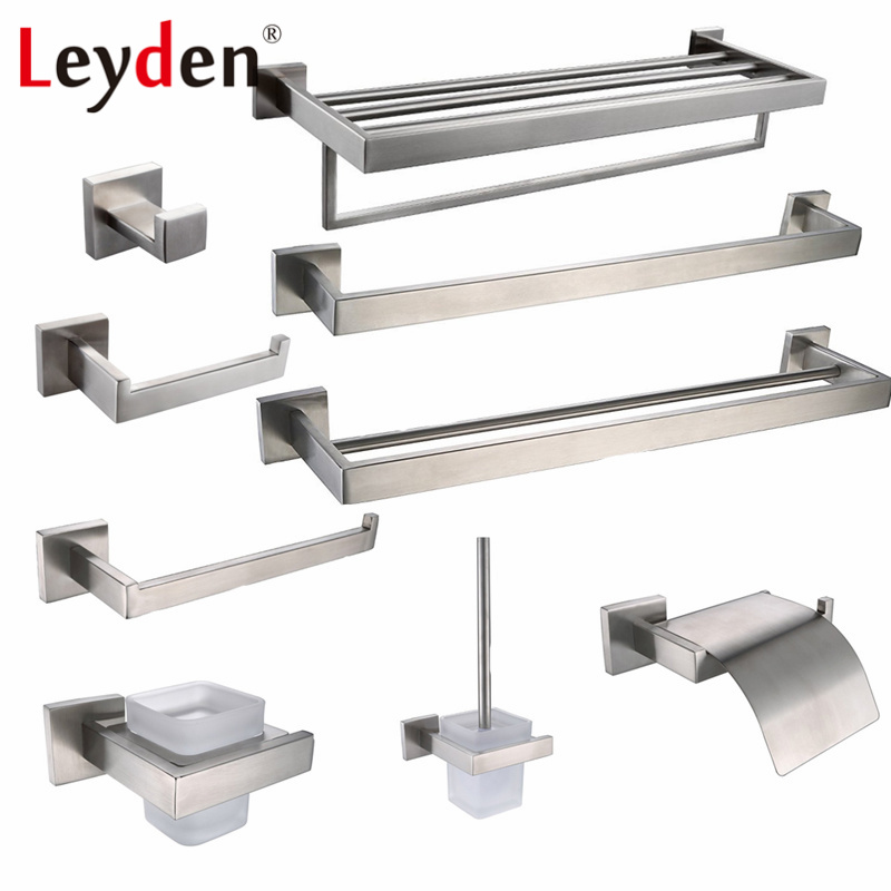 Leyden SUS 304 Stainless Steel Bathroom Hardware Set Brushed Nickel Paper Holder Towel Bar Robe Hook Bathroom Accessories Bath leyden sus 304 stainless steel bathroom hardware set brushed nickel paper holder towel bar robe hook bathroom accessories bath