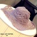 Летом вырез ручной женщины соломенные шляпы солнца складная флоппи-бич шляпы бесплатная доставка SCCDS-006