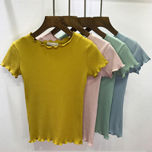 Women Tees Ruffled Trimmings Ribbed Crop Tops Soft And Stretchy Short Sleeve T-shirts Basic Cropped Top