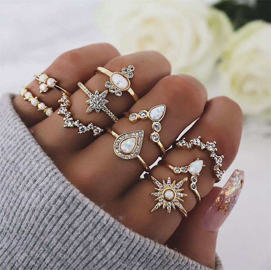 25 Styles Bohemian Gold Crown Moon Star Snake Cross Water Drops Crystal Ring Set Women Charm Joint Ring Party Wedding Jewelry