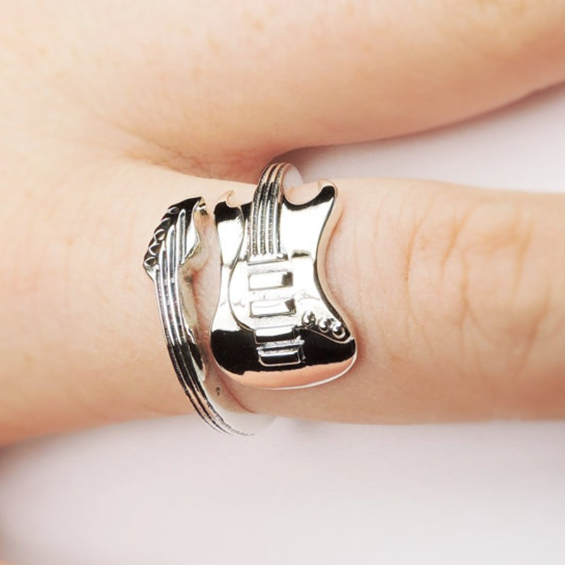 Rock Guitar ancient silver plating ring fashion jewelry to open the adjustable size opening of a single aneis masculinos ring