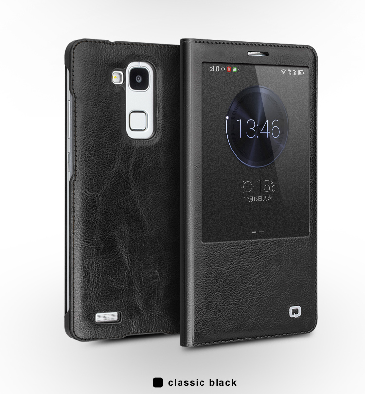 QIALINO Original Genuine Leather Flip Cover Case for Ascend Mate7 case Mate7 Smart View Sleep Wake