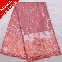 2017 Latest sequins orange african tulle french lace fabric high quality nigerian wedding african lace free shipping L5