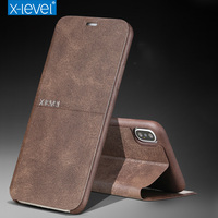 X Level For IPhone X Case Luxury Ultra Thin Retro PU Leather Flip Cover Case For