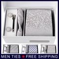 Высокое качество серебряный мужская шелковый галстук подарочные комплект 8.5 см галстуки + запонки + карманный + подарочной коробке мужчины аксессуары бесплатная доставка