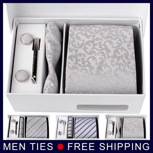 Alta calidad de plata de hombre corbata de seda de regalo establece 8.5 CM Ties + mancuernas + Pocket square + caja de regalo envío gratis