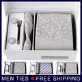 High Quality Silver Men's Silk Necktie Gift Sets 8.5CM  Ties+Cufflinks+Pocket square+Gift Box  Men Accessories Free Shipping
