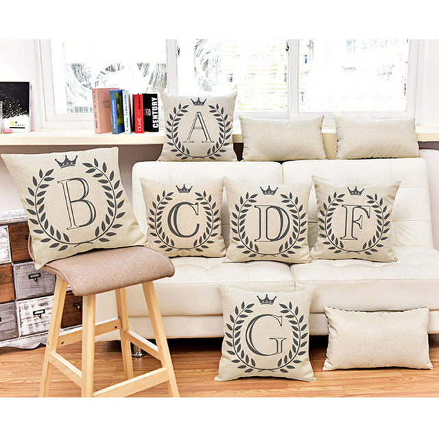 Alphabet Baby Learning Pillows Home Decor A Z letter Cushion Cover ...