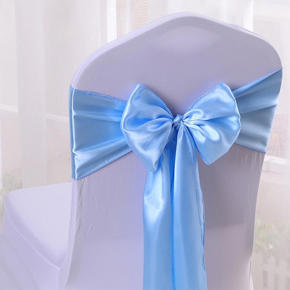 "Wholesales 30PCS Light Blue Satin Chair Bow Sashes Ribbon For Wedding Reception Banquet Decoration 6.7""X 108"" (17X275CM) CSLB102"