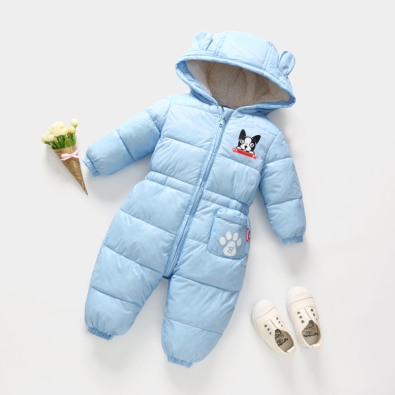 2018 Winter Cute Jumpsuit Baby Newborn Snowsuit Boy Warm Down Cotton Girl clothes Bodysuit hooded coat jacket kids