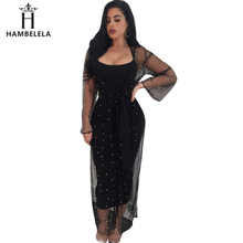 HAMBELELA Runway Maxi Dress 2018 Long Sleeve Two Piece Set Diamond Spring Dress 2 Pieces Sheer Mesh Party Dresses Women Outfits