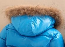 Russian winter children warm clothes kids jacket 2pcs set duck feather down raccoon fur collar hood ski snowsuit boys parkas