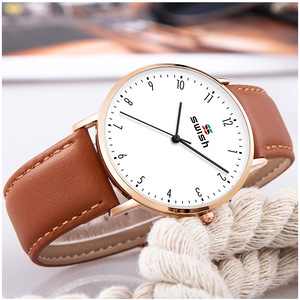 Image 5 - スウィッシュ 2020 男性超薄型腕時計革ステンレス鋼クォーツ時計 30 メートル防水ブラウンレザー腕時計