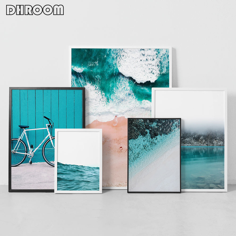 Painting Canvas Pictures Poster-Print Coastal Ocean-Bike Wall Art Nordic-Decoration Living-Room