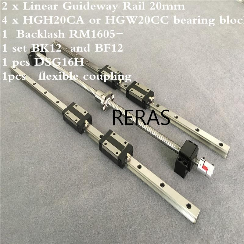 2 pcs HGH20 any length+1 SET <font><b>SFU1605</b></font>+<font><b>4</b></font> HGH20CA /hgw20cc Linear guide High assembly square load ball screw linear motion module image