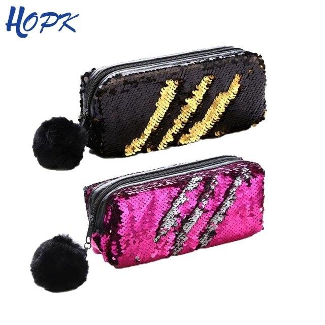 Милые блесток пенал для обувь девочек школьные принадлежности Hairball Пенал школьный Bts канцелярские подарок Magic пенал для карандашей