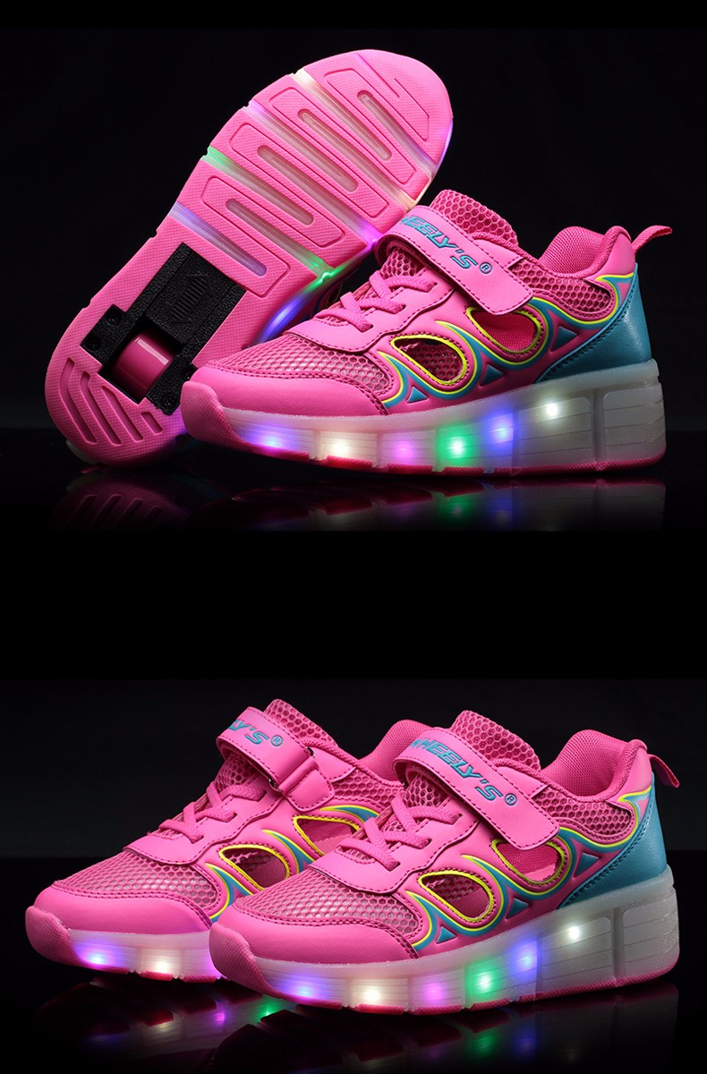 High Quality Cheap Boys Glowing Sneakers With Wheels Kids Light Up Shoes Girls Roller Skates tenis de rodinha tenis led4