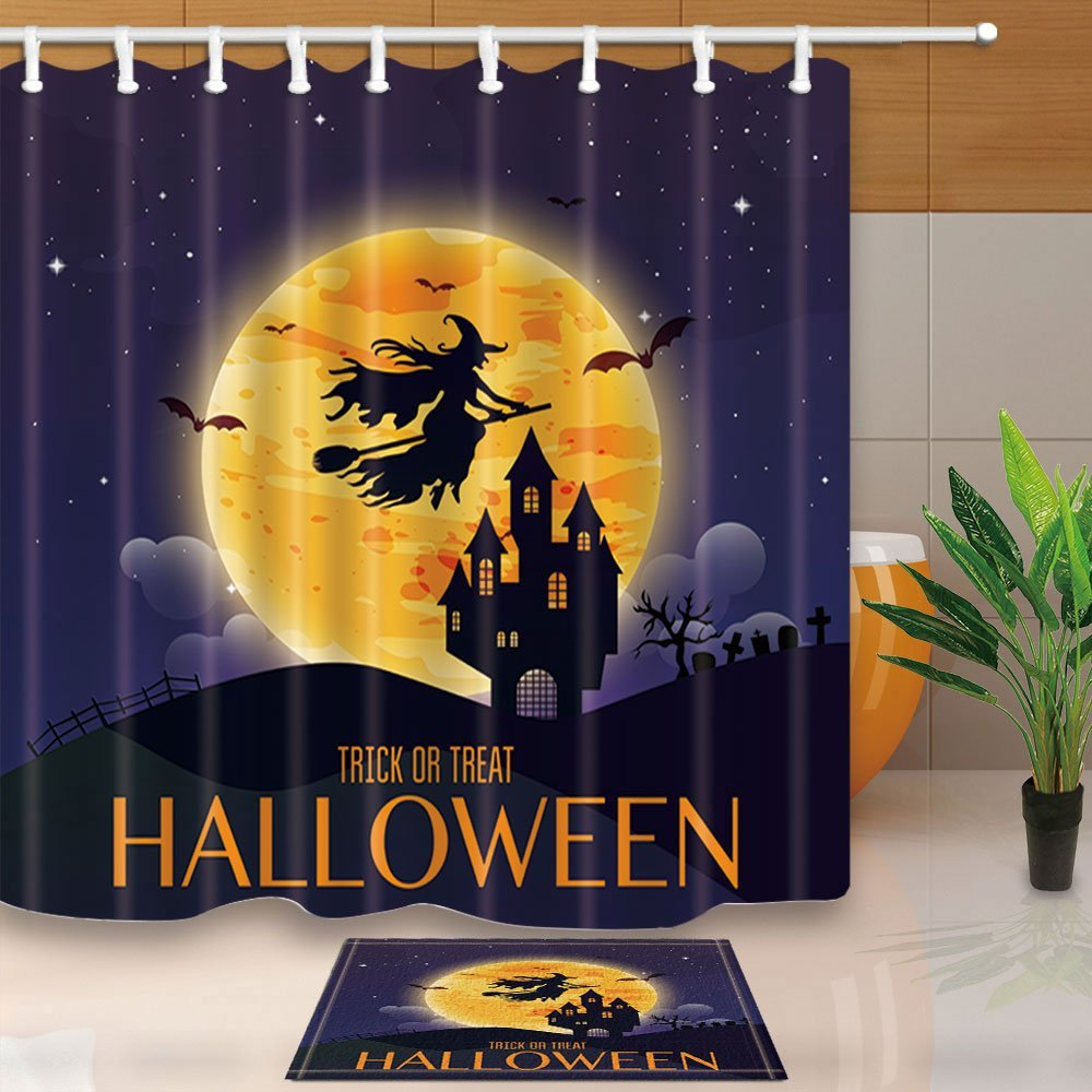 Halloween Decor Witch Flying Over The Moon To Castle 69X70in Mildew Resistant Polyester Fabric Shower Curtain Suit