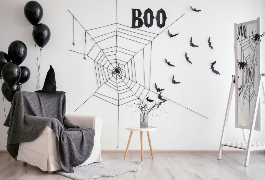 Laeacco Black Balloon Sofa Spider Net Bat Drawing Interior Photo Backgrounds Customized Photography Backdrops For Studio