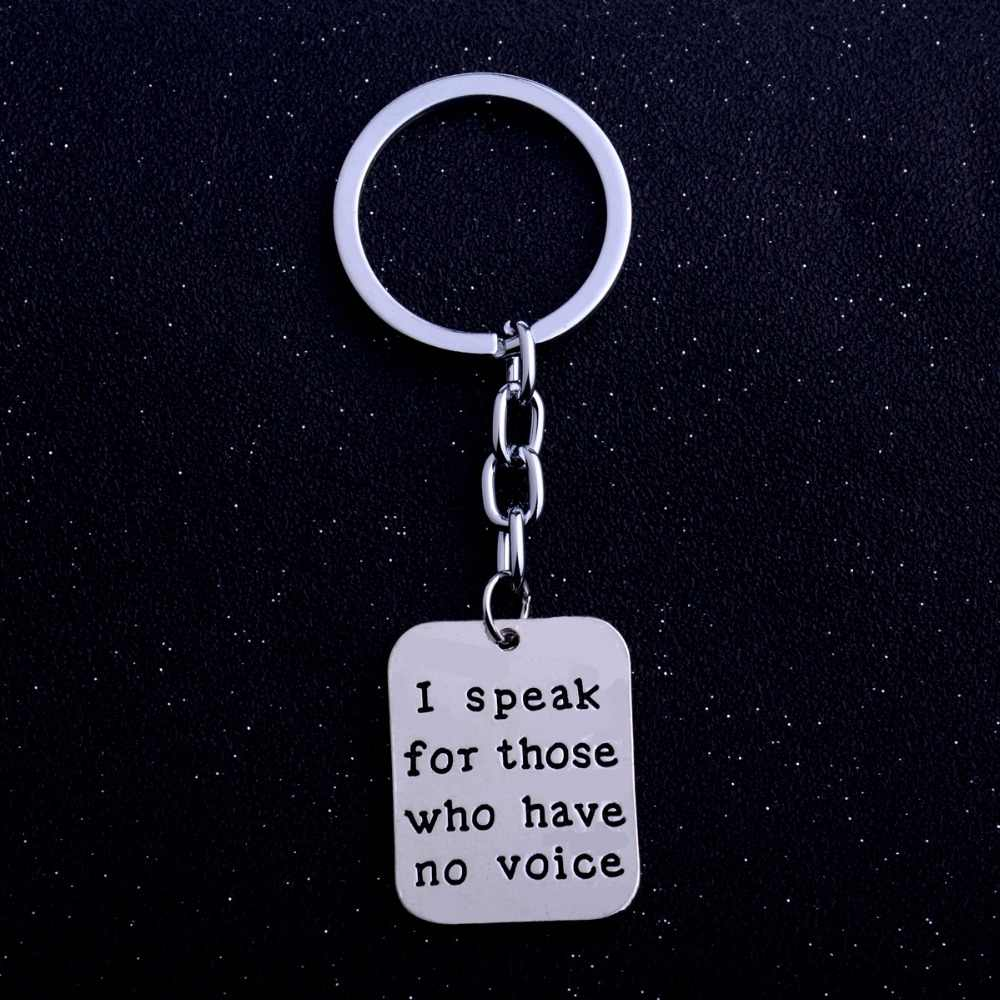 Geometric I Speak For Those Who Have No Voice Charms Keychain Women Vet Tech Animal Rescue Veterinarian Dog Lover Keyring Gifts