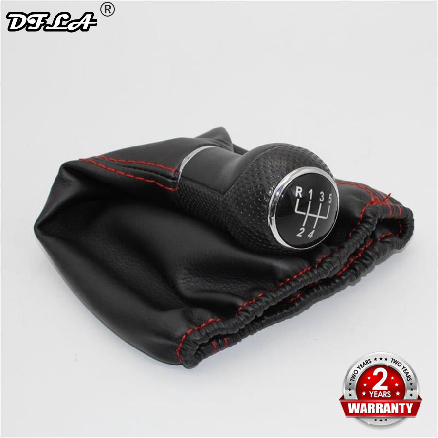 For Seat Cordoba 1997 1998 1999 2000 2001 2002 Car-Styling 5 Speed Car Gear Stick Shift Knob With PU Leather Boot Red Line