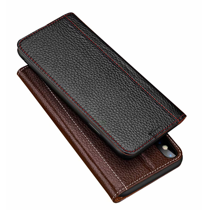 CKHB Luxury Lichee Pattern Genuine Leather Case for iPhone 6 6s Plus 7 8 Plus Folio