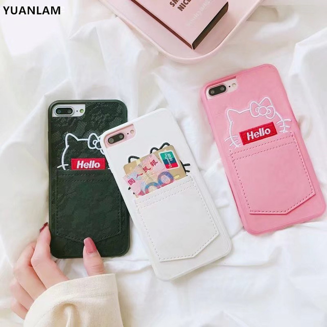 601a7d712c3 New Pocket Hello Kitty Cat cover For iPhone 6 6s 6plus 6splus Cases Cute  Animal Case for iPhone 7 8 plus with card Holder