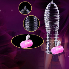Adult Sex Products Crystal Condoms Vibrating Enlargement Men Reusable Cock Condom Full Cover Penis Sleeve Sex Toys for Couples