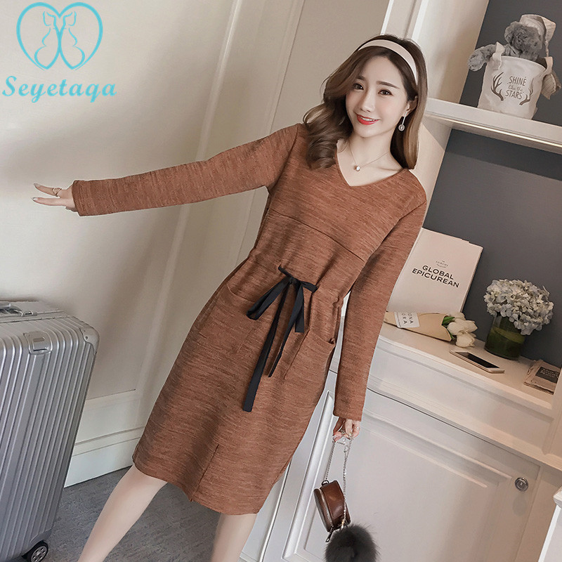 6211# Autumn Fashion Maternity Nursing Dress Drawstring Knitted Breastfeeding Clothes For Pregnant Women Winter Office Pregnancy