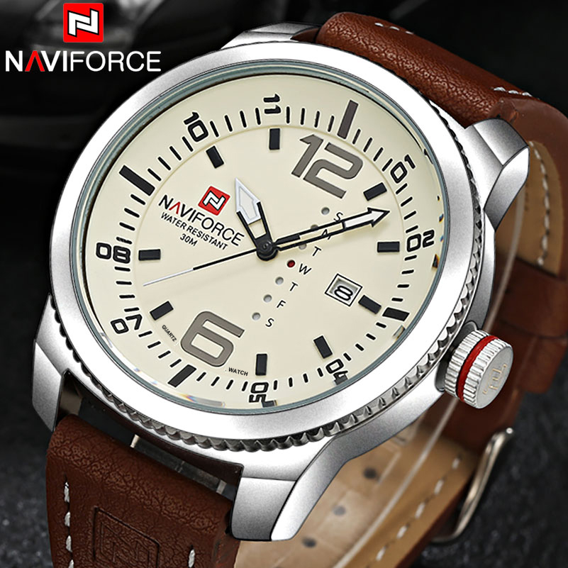 NAVIFORCE Top Brand Store Watch Men Casual Military Sports Watches Leather Wrist Watch Male Relogio Masculino