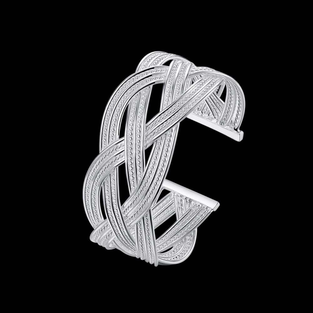 Kobiety pleciony bransoletka 925 czystego srebra charms moda szerokość 28mm duży wyplatane bransoletki bransoletki Bracciali darmowa wysyłka