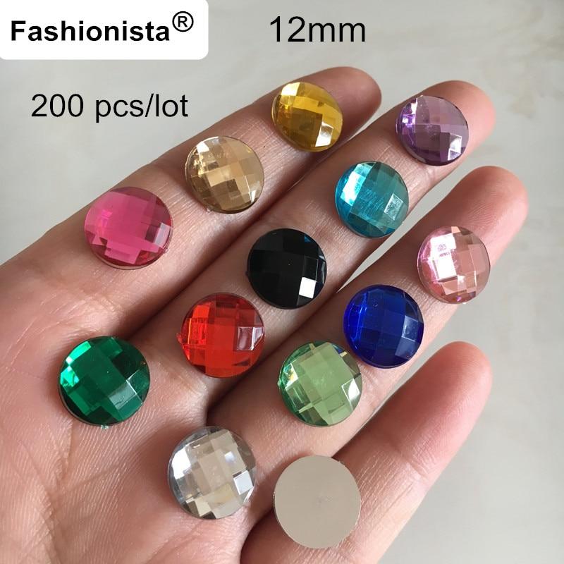 100 Acrylique Flatback Facettes Rond Strass Gems 16 mm Sans Trou Couleur De Choix