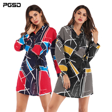 PGSD 2019 Spring summer Simple Fashion Women Clothes Long Geometric Collision Printed Shirt V-Neck Pullover Belt matching female