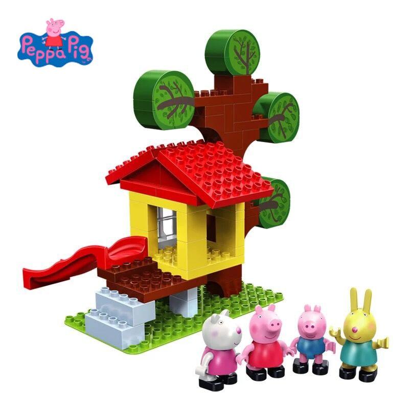 Новое поступление из натуральной Peppa Свинья Модель Строительный блок комплекты tree house с 4 фигурки-(64 частицы), 4 Куклы Дети игрушка в подарок